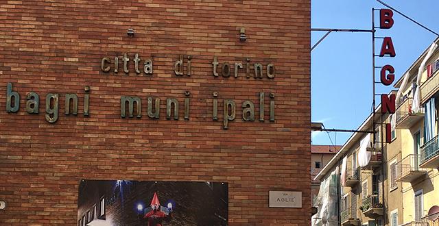 Muro con scritta Bagni municipali in via Agliè
