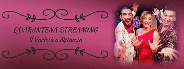 """Scritta """"Quarantena streaming, il varietà a distanza"""" e tre attori"""