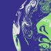 Disegno stilizzato della Terra verde bianco blu