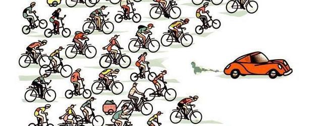 Disegno ciclisti che inseguono auto - Critical Mass