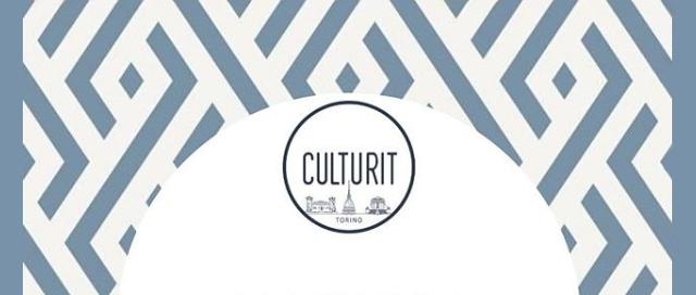 Grafica bianca e grigio-blu con logo Culturit Torino