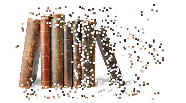 Immagine di libri antichi che si sgretolano in pixel - digital humanities