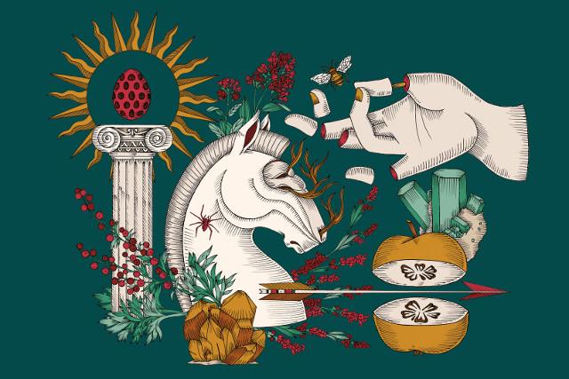 Elisa Seitzinger Disegno colonna con uovo, testa di cavallo, mano tagliata a pezzi