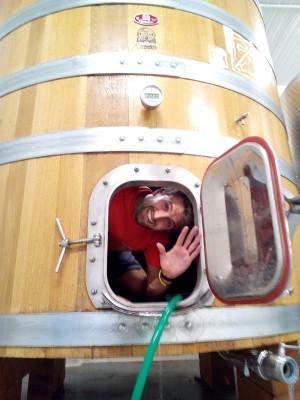 Uomo che saluta da dentro un tino di fermentazione