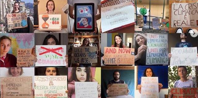Piccole foto di persone con cartelli sul clima - Fridays for Future Torino