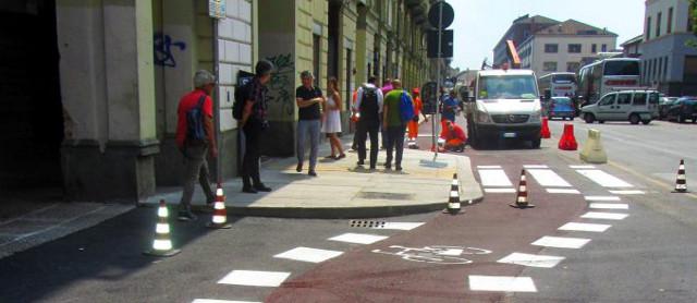 I lavori sulla pista ciclabile di via Nizza