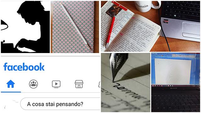 Collage di immagini: interno Facebook, quaderno con matita, libro, penna che scrive, schermo pc