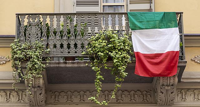 Balcone antico con piante che pendono e bandiera italiana
