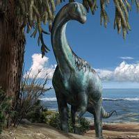 Ricostruzione del dinosauro italiano Tito nel suo habitat (illustrazione di D. Bonadonna)