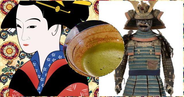 Collage immagini disegno donna giapponese, tè macha e armatura samurai Giappone