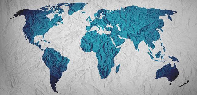 Mappa del mondo in azzurro